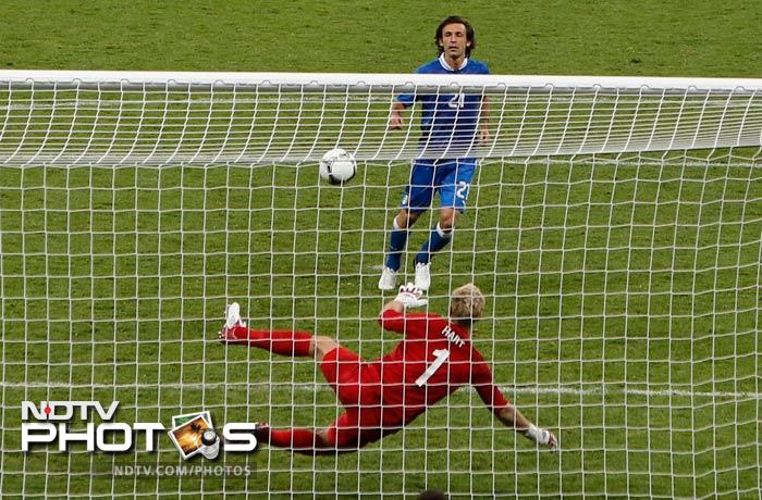 Then came the penalty of the match as Andrea Pirlo fooled England goalkeeper Joe Hart as he struck a spot kick that was brilliantly chipped down the middle.