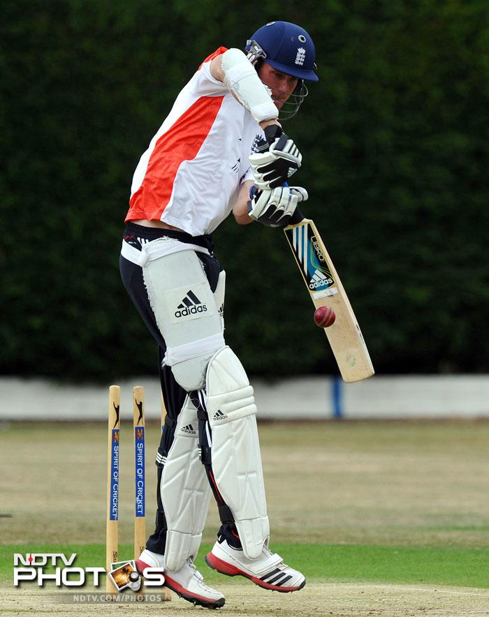 Stuart Broad who showed promise with the ball as well as the bat was seen practising his batting skills. (AFP Photo)