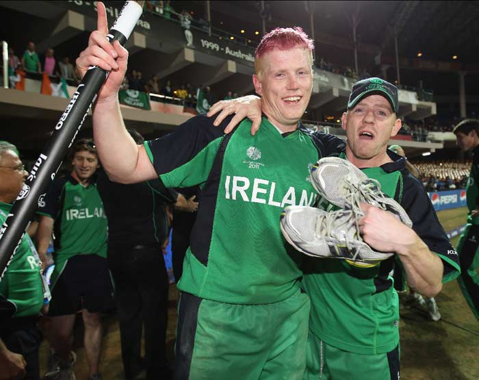 Kevin O'Brien scored a scintillating hundred off just 50 balls, the fastest the World cup has seen. Ireland edged towards a run-a-ball target as the World Cup's first upset seemed certain. (Getty Images)