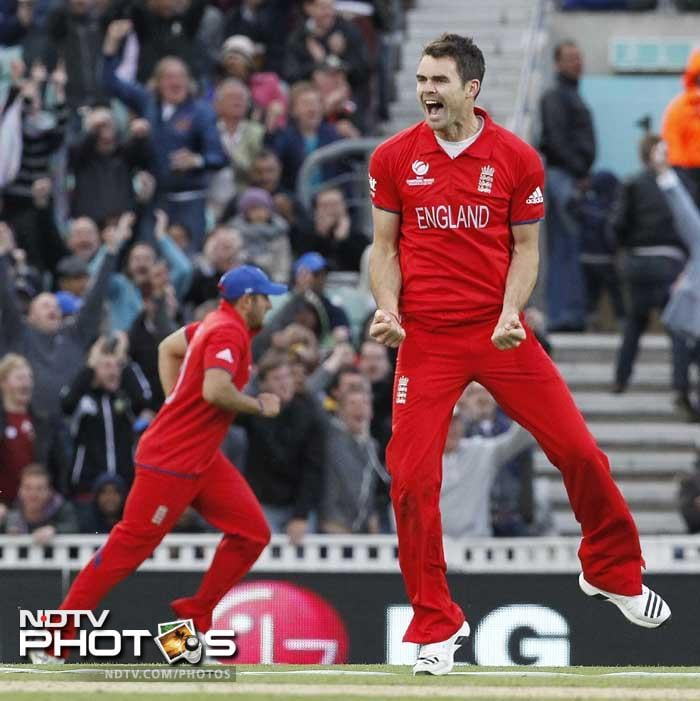 James Anderson struck early to remove Kusal Perera.