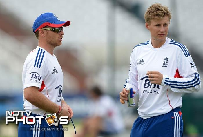 Matt Prior and Joe Root take a short break from the hard training as they watch their mates slog it out on the field.