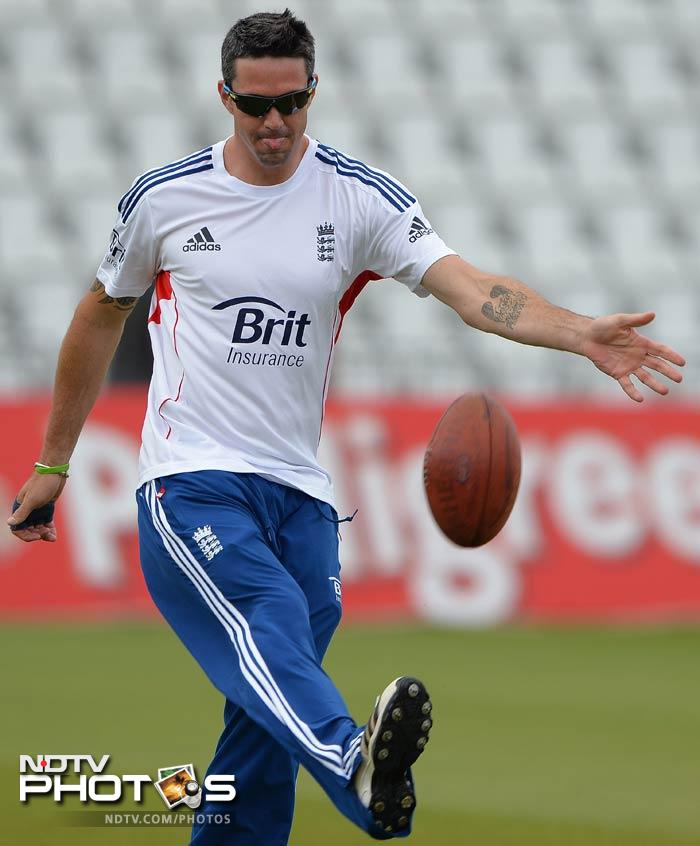Kevin Pietersen keeps the rugby ball as England bring in a bit of fun as they train ahead of the first Test.