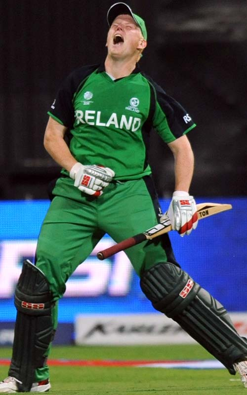 <b>Kevin O'Brien (50 balls), March 2, 2011</b><br><br> Ireland's Kevin O'Brien became the fastest World Cup centurion belting 100 runs off just half the balls hitting 13 boundaries and 6 sixes against England. It was also the 6th fastest ODI century. (Getty Images)