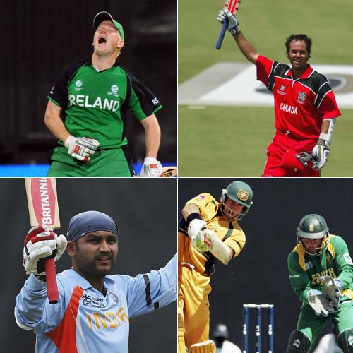 <b>Fastest World Cup hundreds</b><br><br> The pressure of the World Cup has brought about some of the cricket's best performances. Since its first edition when Clive Lloyd scorched to an 82-ball hundred against Australia, many batting performances have dazzled all except the bowlers in the line of fire. <br><br> Some came out as surprises, while some as batting masterpieces, but they all were extremely exciting. Here is the list of the fastest hundreds smashed in the World Cup history.