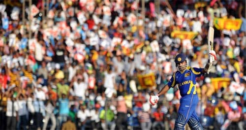 <b>Mahela Jayawardene (80 balls), February 20, 2011</b><br><br> Sri Lanka's prolific batsman Mahela Jayawardene equalled Virender Sehwag's feat when he tore apart the Canadian bowling in Sri Lanka's opening game of the 2011 World Cup, hitting 100 off 80 balls. His knock guided Sri Lanka to 332/7 and lifted the side to a 210-run win over Canada. (AFP Photo)