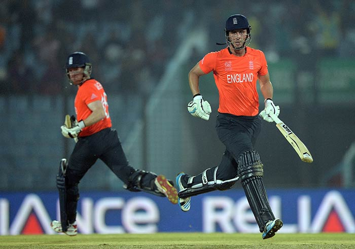 Alex Hales and Eoin Morgan began England's resurrection in a steep run-chase. They added 152 runs for the third wicket to keep England alive in the contest.
