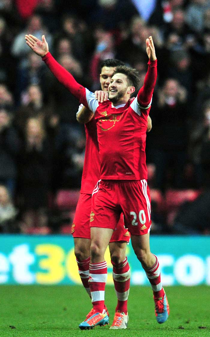 Southampton skipper Adam Lallana's 66th minute goal helped their side to a 1-0 home win over West Bromwich Albion.
