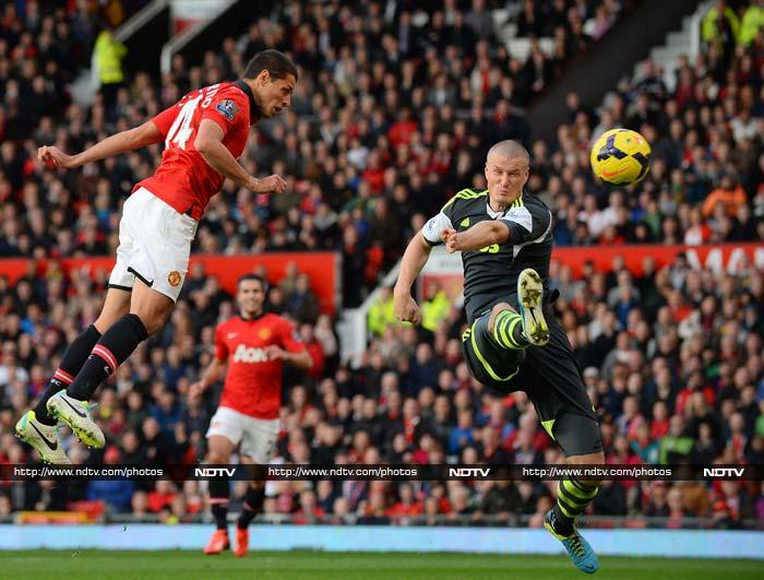 Javier Hernandez rescued Manchester United and manager David Moyes with an 80th-minute winner in a 3-2 victory over Stoke City in the Premier League on Saturday.