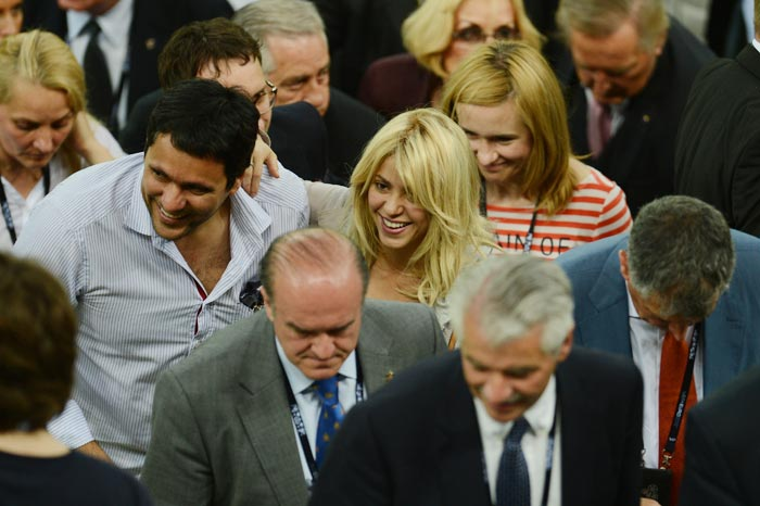 Colombian singer Shakira attends the Euro 2012 football championships match between Croatia and Spain on June 18, 2012 at the Gdansk Arena. (AFP Photo)