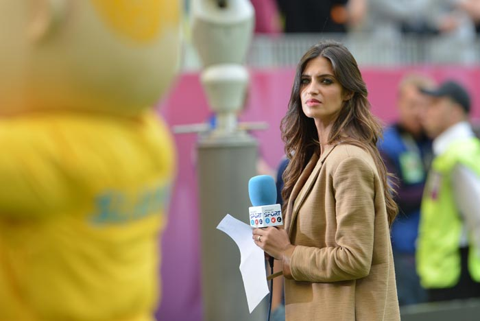 Sara Carbonero, Spanish TV presenter and girlfriend of Spain's goalkeeper Iker Casillas, was also spotted at the Euro 2012 football match between Spain and Italy at the Gdansk Arena. (AFP Photo)