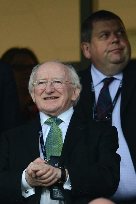 Irish president Michael D. Higgins attended the Euro 2012 match between Republic of Ireland vs Croatia at the Municipal Stadium in Poznan. Croatia won 3 to 1. (AFP Photo)