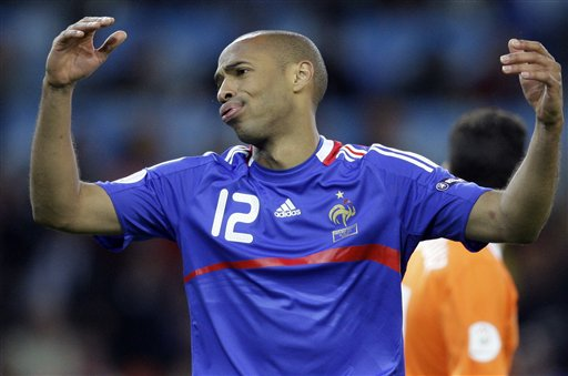France's Thierry Henry reacts during the group C match between the Netherlands and France in Bern on June 13, 2008.