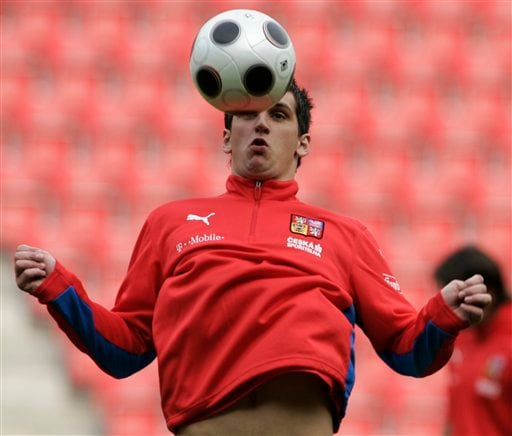 Czech Republic forward Martin Fenin juggles a ball during a practice session in Prague, Czech Republic on Monday, May 26, 2008. Czech Republic faces Lithuania in a Euro 2008 warm up soccer match on Tuesday.