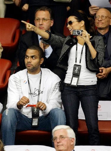 French NBA basketball player Tony Parker, left, and actress Eva Longoria are seen during the group C match between France and Italy in Zurich, Switzerland on June 17, 2008.