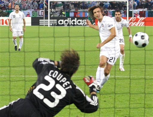 Italy's Andrea Pirlo scores on a penalty kick during the group C match between France and Italy in Zurich, Switzerland on June 17, 2008.