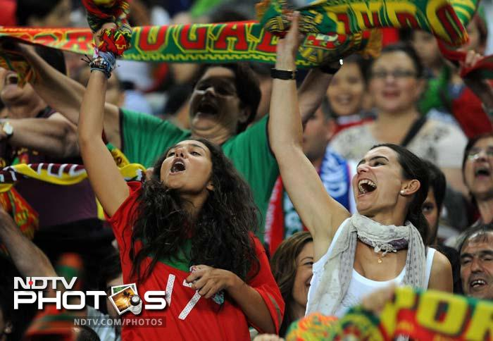 Portugal supporters lash out their verbal support during their teams match.