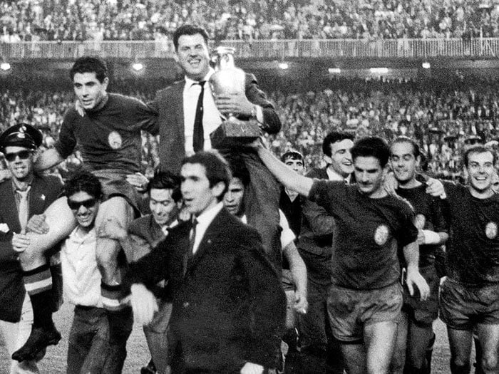 In 1964, Spain were on home soil and against a side whom they had refused to play during the 1960 championships. But a vociferous Bernabéu crowd cheered their team on and a host had lifted the trophy for the first time.