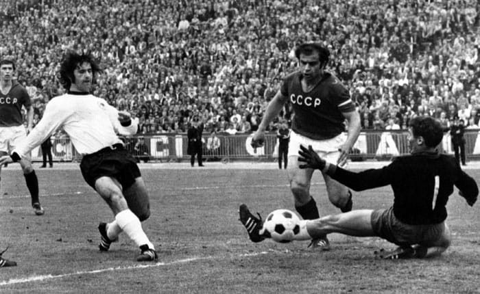 It was Gerd Müller all the way during the 1972 European championship. Franz Beckenbauer led West German side's most influential player, Müller, scored twice in the finals against the Soviets to hand the Germans the trophy.