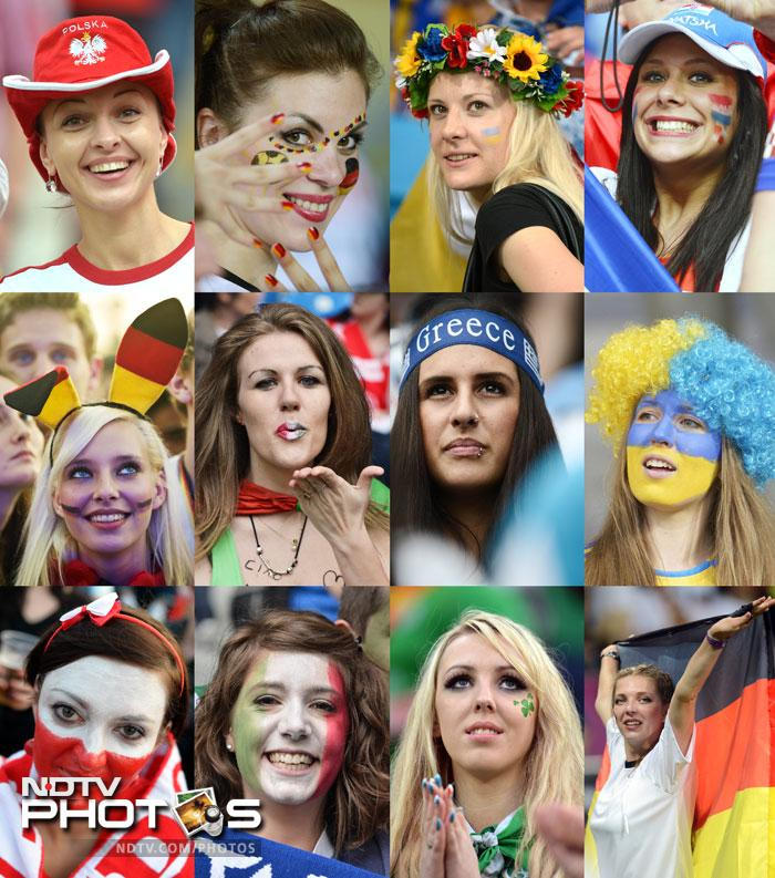 A combination of pictures taken in June 2012 shows female supporters from various countries with their faces painted in national colours during the Euro 2012 football championships. (AFP PHOTO)