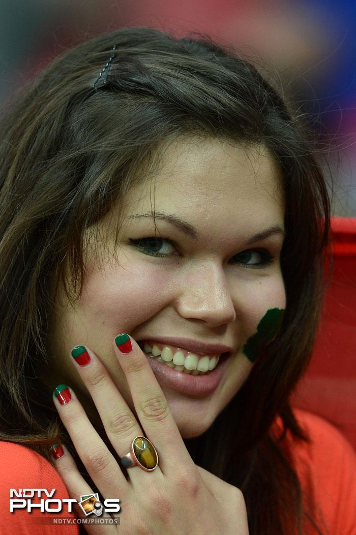 It was Portugal's day in the quarter finals though as they overcame Czech Republic with a goal from their national hero, Cristiano Ronaldo. A Portuguese fan waits ahead of the quarter-final match June 21, 2012 at the National Stadium in Warsaw. (AFP PHOTO / CHRISTOF STACHE)