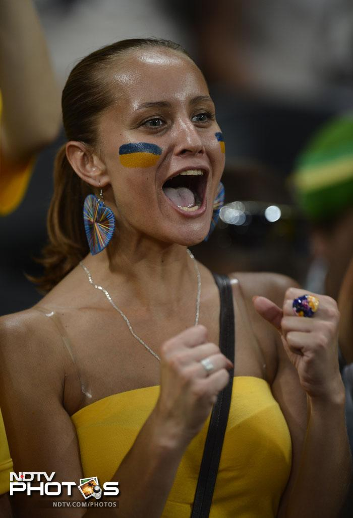France did defeat Ukraine in a lopsided battle but support for the home side was unflinching. A fan of Ukraine's national football team reacts ahead of the Euro 2012 championships football match Ukraine vs France on June 15, 2012 at the Donbass Arena in Donetsk. (AFP PHOTO/ FILIPPO MONTEFORTE)