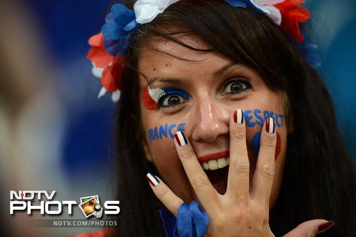 France were never expected to win this championship but they did well to reach the last eight. A fan of France's national football team reacts ahead of the Euro 2012 championships football match Ukraine vs France on June 15, 2012 at the Donbass Arena in Donetsk. (AFP PHOTO/ FRANCK FIFE)