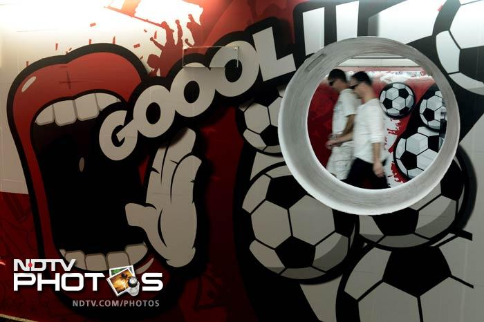 Subway stations have also been decorated with football themes in Warsaw. (AFP Photo)