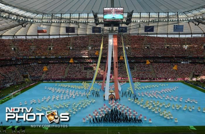As opposed to most high profile tournaments, the Euro 2012 opening ceremony was just 12 minutes long but was a spectacle to behold. (AFP PHOTO/GABRIEL BOUYS)
