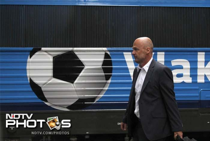 The Czech national soccer team's head coach Michal Bilek arrives at the train station in Wroclaw, Poland, Sunday, June 3, 2012. Czech Republic is playing in group A at the soccer Euro 2012. (AP Photo/Petr David Josek)