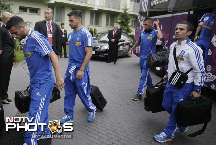 Greece national soccer team players arrive at Hotel Jachrance,Poland, Sunday, June 3, 2012. The first group A match of the Team Contest on June 8 against Poland in Warsaw. (AP Photo/Czarek Sokolowski)
