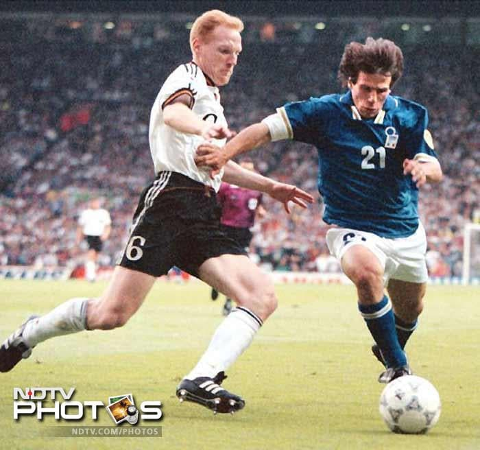 <b>Matthias Sammer (Germany)(1996):</b> Matthias Sammer (L) scored the quarter-final winner against Croatia and evoked memories of Franz Beckenbauer with his performances at EURO '96. After reunification Germany initially struggled to match the exploits of their former western section, but that changed at this competition. Having moved through the semi-finals, they came from behind to edge out hosts England on penalties and then defeated the Czech Republic with a golden goal. Playing in a libero role first filled by Franz Beckenbauer, former East Germany international Matthias Sammer was inspirational throughout as his nation won the title for the third time.