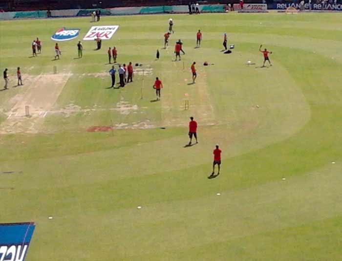 Team members practice inside the stadium before the beginning of the second semi final of World Cup 2011.