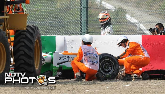It was a bad start to the day for Force India as Nico Hulkenberg crashed in the final practice session on Saturday morning. (AP & AFP Photos)