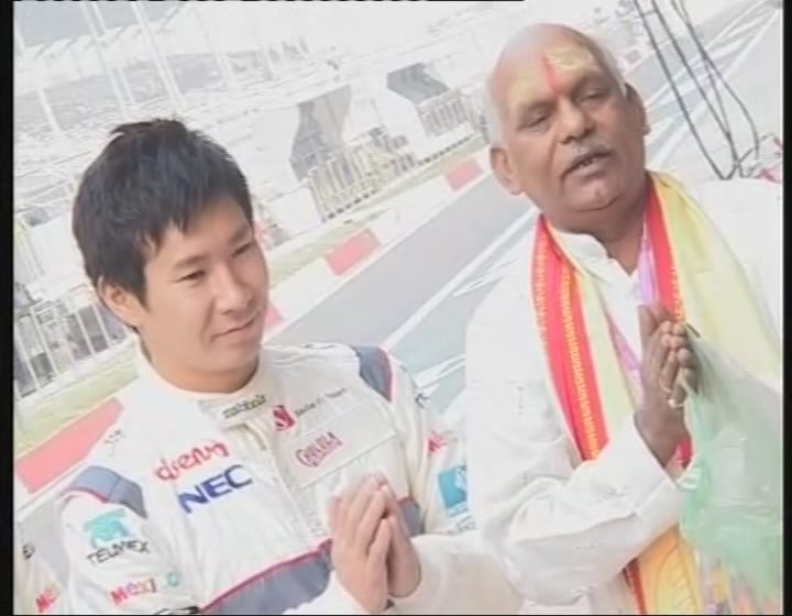 Kamui Kobayashi is seen here with a 'panditji' at the ceremony.