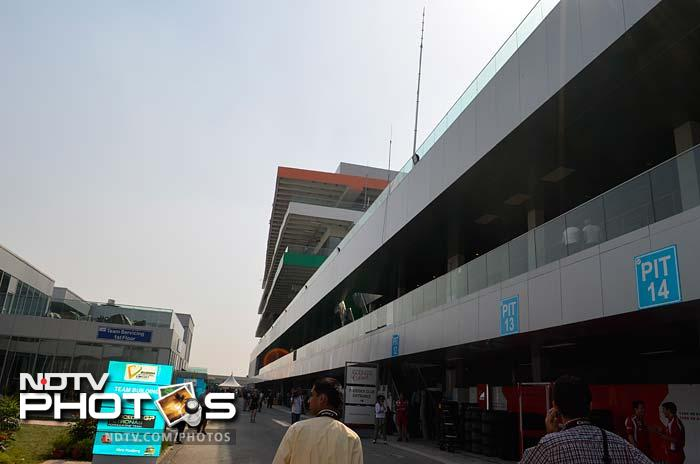 A view of the buildings here amidst the hustle and bustle of F1 activity. (Sahil Mohan Gupta/NDTV)