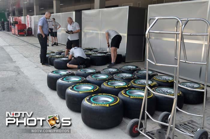 Mercedes GP support and technical staff are seen accounting for the tyres brought for the race. (Sahil Mohan Gupta/NDTV)