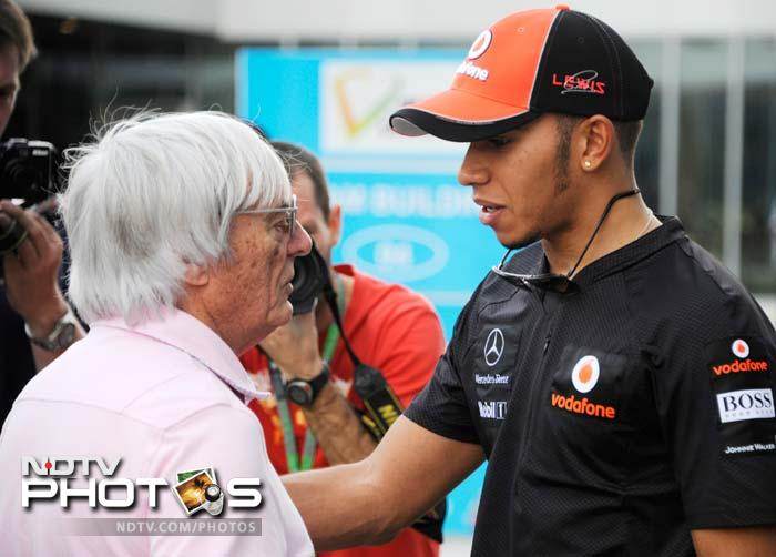 Hamilton also chatted with F1 boss Bernie Eccelstone at the event. (AFP image)