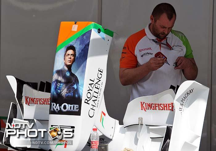 First up - Ra One. Yes, the superhero was one of the first to arrive. Of course, it was on the car of Sahara Force India but the presence could not be ignored. (AFP image)