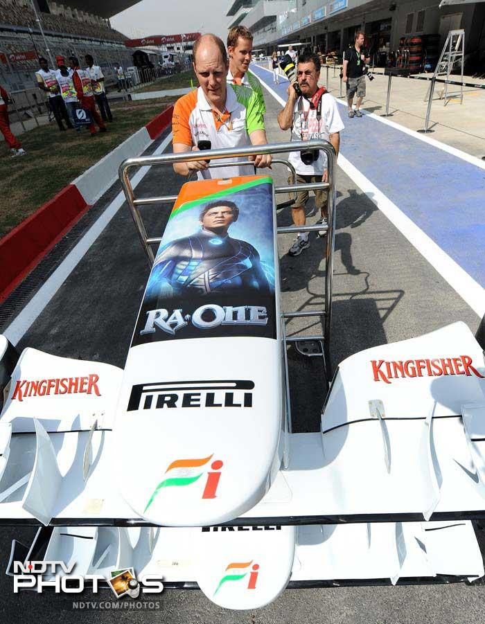 The Bollywood movie, which was released on Diwali, takes a prominent place on the F1 car. (AFP image)