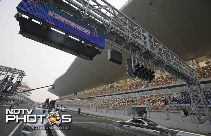 The starting grid is seen in this picture with seating for spectators on the right. Tickets had been priced between Rs 2500 to Rs 33,000.