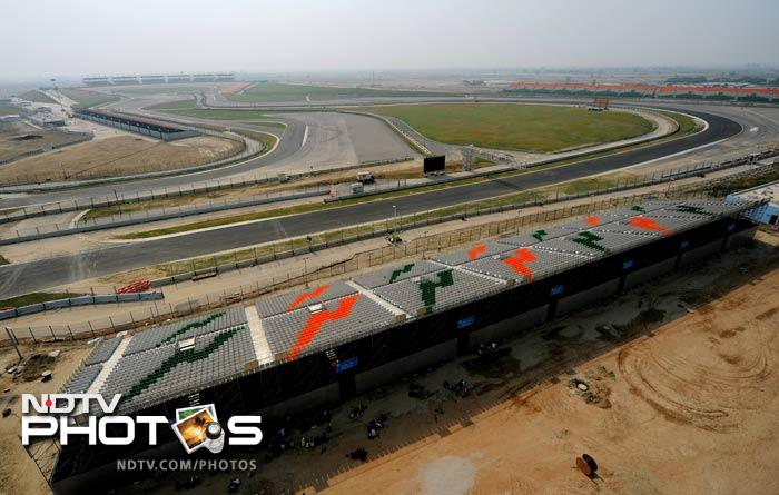 An aerial view of the newly-inaugurated track that is in Greater Noida, 60 kilometers from New Delhi.