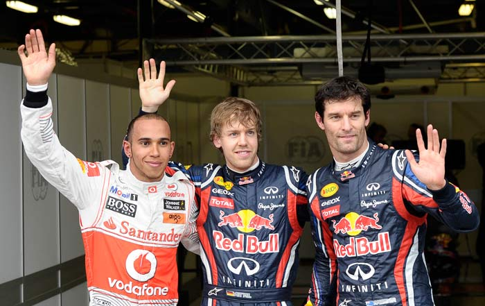 Red Bull continued from where they had left from last season as they occupied two spots on the podium, sandwiching Lewis Hamilton in second position. (AP Photo)