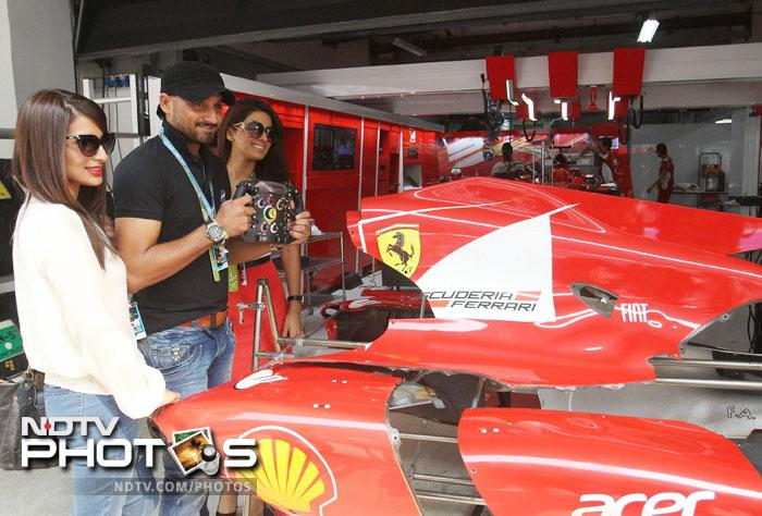 Harbhajan Singh visited Ferrari Pit with 'good friend' Geeta Basra and her sister. (PTI Photo)