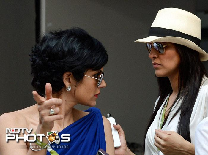 Actresses Neha Dhupia and Mandira Bedi were also present at the Buddh International circuit in Greater Noida. (PTI Photo)
