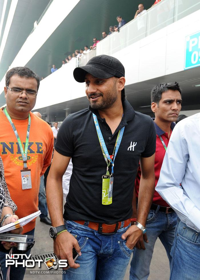 Harbhajan Singh arriving at the Buddh international circuit ahead of the Indian Grand Prix 2012.