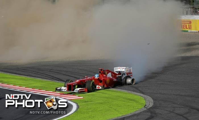 Alonso, of Ferrari, was eliminated from Sunday's contest when he was hit by rival Finn Kimi Raikkonen's Lotus at the first corner and suffered a puncture. The fuming Spaniard refused to speak to media afterwards.