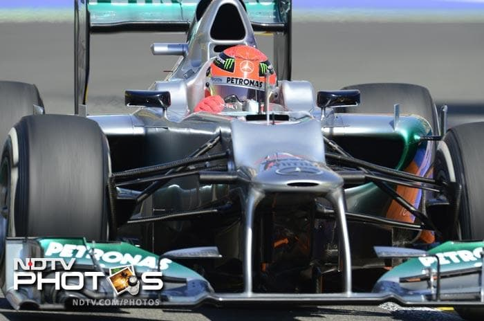 Michael Schumacher and Mercedes had a below average day as he finished twelfth in the qualifiers. (AFP Photo)