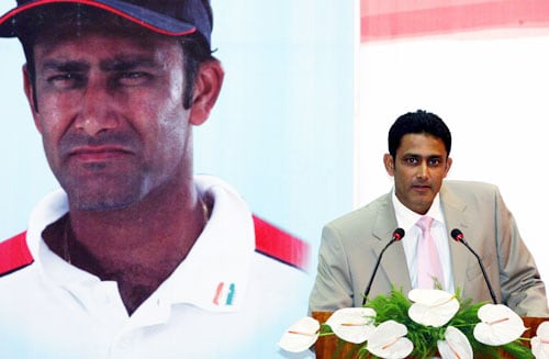 Anil Kumble after being felicitated by the BCCI during a felicitation function at the new VCA Stadium in Nagpur. (PTI Photo)