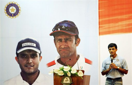 Sourav Ganguly speaks after being felicitated by the Board of Control for Cricket in India for his contributions to Indian cricket in Nagpur. (AP Photo)