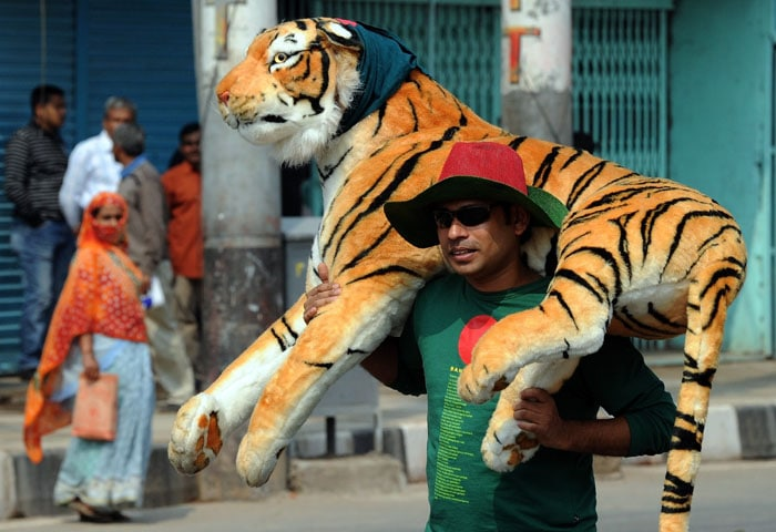 A Bangladesh fan arrives for the first match of ICC Cricket World Cup match between India and Bangladesh at The Sher-e-Bangla National Stadium in Dhaka. (AFP Photo)